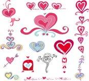 Conjunto del vector de corazones ilustración del vector