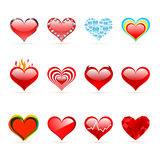 Conjunto del vector de corazones del rojo del día de tarjeta del día de San Valentín del santo Imágenes de archivo libres de regalías