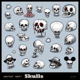 Conjunto del vector de cráneos Fotos de archivo