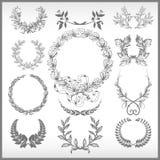 Conjunto del vector de diversas guirnaldas del laurel Fotografía de archivo libre de regalías