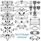 Conjunto del vector de elementos caligráficos del diseño Fotografía de archivo