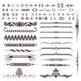 Conjunto del vector de elementos caligráficos del diseño Imagenes de archivo