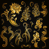 Conjunto del vector de elementos florales Foto de archivo libre de regalías