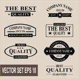 Conjunto del vector de escrituras de la etiqueta garantizadas calidad de la vendimia Fotografía de archivo
