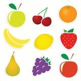 Conjunto del vector de etiquetas engomadas de la fruta Fotos de archivo libres de regalías