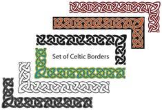 Conjunto del vector de fronteras de estilo celta Foto de archivo libre de regalías