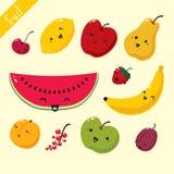 Conjunto del vector de frutas Imagenes de archivo