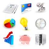 Conjunto del vector de iconos de las finanzas 3d Fotografía de archivo libre de regalías