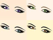 Conjunto del vector de imágenes del ojo de diversos colores Fotografía de archivo libre de regalías