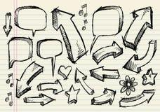 Conjunto del vector de la flecha de la burbuja del discurso del bosquejo del Doodle Fotos de archivo libres de regalías