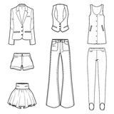 Conjunto del vector de la ropa de la manera de las mujeres s Imagenes de archivo