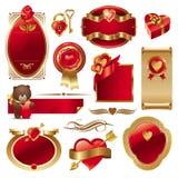 Conjunto del vector de la tarjeta del día de San Valentín Fotografía de archivo libre de regalías