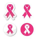 Conjunto del vector de las cintas rosadas para el cáncer de pecho Fotografía de archivo