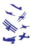 Conjunto del vector de las siluetas de los aeroplanos. Imagen de archivo
