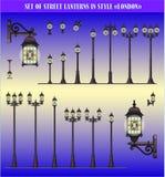Conjunto del vector de linternas de la calle Fotografía de archivo libre de regalías