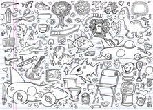 Conjunto del vector de los elementos del Doodle del cuaderno Foto de archivo libre de regalías