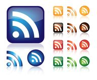 Conjunto del vector de los iconos del Web de RSS ilustración del vector