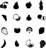 Conjunto del vector de los símbolos o de las siluetas de las frutas Foto de archivo libre de regalías