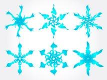 Conjunto del vector de los snowlakes Fotos de archivo libres de regalías