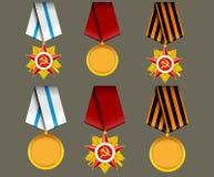 Conjunto del vector de medallas militares Fotografía de archivo