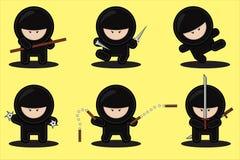 Conjunto del vector de ninjas Fotografía de archivo libre de regalías