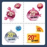 Conjunto del vector de precios Imagen de archivo