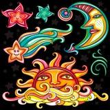 Conjunto del vector de símbolos celestiales Foto de archivo
