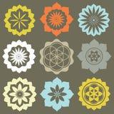 Conjunto del vector de símbolos de la flor Imagenes de archivo