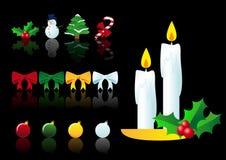 Conjunto del vector de símbolos de la Navidad Foto de archivo