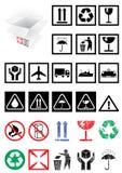 Conjunto del vector de símbolos y de escrituras de la etiqueta del embalaje. Fotos de archivo libres de regalías