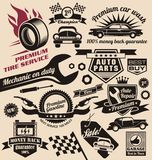 Conjunto del vector de símbolos y de logotipos del coche del vintage Foto de archivo libre de regalías