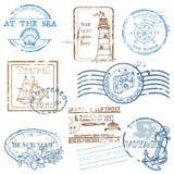 Conjunto del vector de sellos retros del MAR Imagenes de archivo