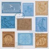 Conjunto del vector de sellos retros del POSTE del MAR Imagen de archivo libre de regalías