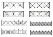 Conjunto del vector de siluetas de las cercas del hierro Fotografía de archivo libre de regalías