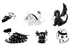 Conjunto del vector de siluetas de los dragones Imagen de archivo