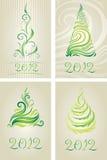 Conjunto del vector de tarjetas decorativas con el árbol de navidad Imagen de archivo libre de regalías