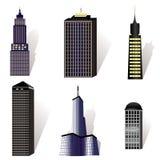 Conjunto del vector de varios edificios Imagenes de archivo