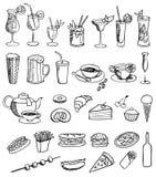 Conjunto del vector del alimento y de la bebida Fotografía de archivo