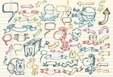 Conjunto del vector del bosquejo del Doodle del cuaderno Fotografía de archivo libre de regalías