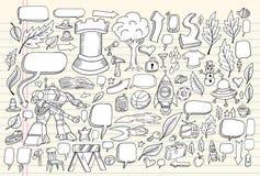 Conjunto del vector del bosquejo del Doodle del cuaderno Fotografía de archivo