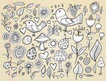 Conjunto del vector del diseño del tiempo de resorte del Doodle Foto de archivo libre de regalías