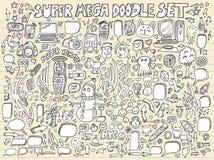 Conjunto del vector del diseño del bosquejo del Doodle del cuaderno Imagen de archivo