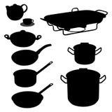 Conjunto del vector del dishware, utensilio, cacerolas Foto de archivo libre de regalías