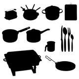 Conjunto del vector del dishware, utensilio, cacerolas Fotografía de archivo libre de regalías