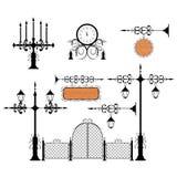Conjunto del vector del hierro labrado Imágenes de archivo libres de regalías