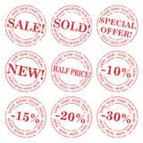 Conjunto del vector del sello de la venta Imágenes de archivo libres de regalías