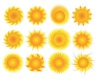 Sistema del vector del sol Imagen de archivo libre de regalías