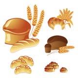 Conjunto del vector, pan fresco y pasteles Imagen de archivo
