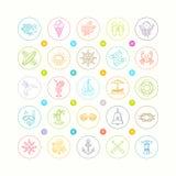 Conjunto del verano y del icono del recorrido Foto de archivo libre de regalías