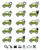 Conjunto del verde de los iconos del servicio del coche Imagenes de archivo